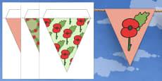 Poppy Themed Bunting