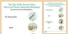 Beatrix Potter - The Tale of Mr Jeremy Fisher Word and Picture Match