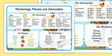 Days, Months and Seasons Word Mat German