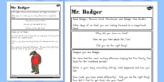 Australia - Badger Diary Writing Challenge Activity to Support Teaching on Fantastic Mr Fox
