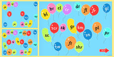 Blends and Clusters on Popping Balloons PowerPoint