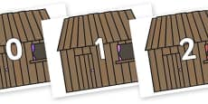 Numbers 0-31 on Wooden Houses