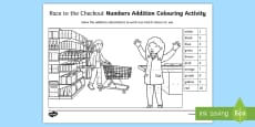 * NEW * Race to the Checkout Addition to 10 Colour by Numbers Activity Sheet