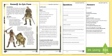 UKS2 Beowulf  Differentiated Reading Comprehension Activity