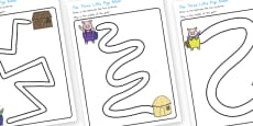 Australia - The Three Little Pigs Pencil Path Control Activity Sheets
