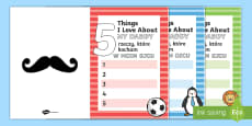 * NEW * 5 Things I Love About Dad Father's Day Card Template English/Polish