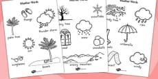 Australia - Winter Words Colouring Sheet Temperate
