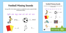 Football Themed Missing Sounds Worksheet