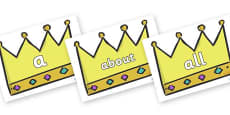 100 High Frequency Words on Crowns (Plain)
