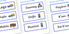 Welcome to our class - Plain Themed Editable Construction Area Resource Labels
