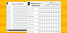 Subtraction From 8 Number Line Worksheet