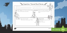 Superhero Themed Book Review Writing Template