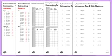 KS1 Arithmetic Content Practice Activity Sheet Pack Subtracting Two 2 Digit Numbers