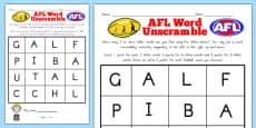 AFL Australian Football League Word Unscramble