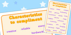 Characteristics to Compliment Word Mat