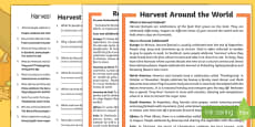 Harvest Around the World Differentiated Reading Comprehension Activity English/Romanian