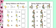 Spring Themed Addition with Pictures Activity Sheet Pack