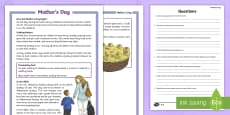 KS2 Mother's Day Differentiated Reading Comprehension Activity