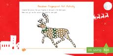 Reindeer Fingerprint Art Activity Sheet