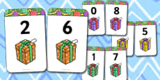 Number Bonds to 8 Matching Cards (Presents)