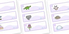 Lilac Themed Editable Drawer-Peg-Name Labels