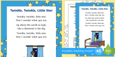 * NEW * Twinkle, Twinkle, Little Star Rhyme Sheet