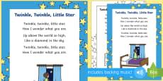 Twinkle, Twinkle, Little Star Rhyme Sheet