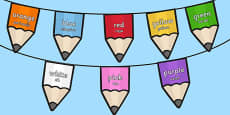 Colours on Pencil Bunting Romanian Translation