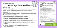 Space Age Word Problems Activity Sheet