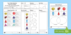 Year 2 Maths Geometry: Properties of Shapes Home Learning Activity Booklet