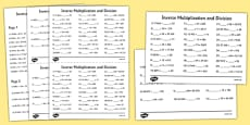 Grades 5 to 6 Inverse Multiplication and Division Activity Sheet Pack