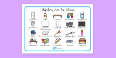 Tapiz de vocabulario de objetos de la clase