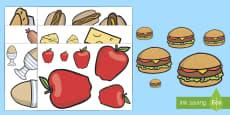 Ordenar tamaños: La comida