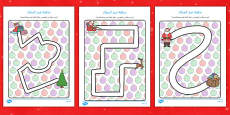Christmas Pencil Control Path Activity Sheets Arabic