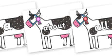 100 High Frequency Words on Cow to Support Teaching on What the Ladybird Heard