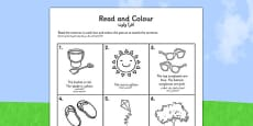 Summer Read and Colour Activity Sheet Arabic Translation