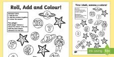 Space Roll and Colour Dice Addition Activity English/Italian