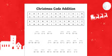 Cryptic Christmas Code addition Activity Sheet