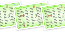 Word Mat (Text) to Support Teaching on Stick Man