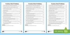 * NEW * Year 5 Fraction Word Problems Differentiated Activity Sheets