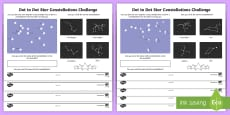 Constellations Using Numbers Dot to Dot Activity Sheet