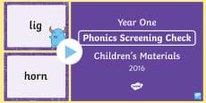 Year 1 Phonics Screening Check 2016 Children's Materials PowerPoint