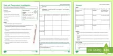 Heat and Temperature Investigation Instruction Sheet Print-Out