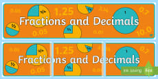 Fractions and Decimals Display Banner