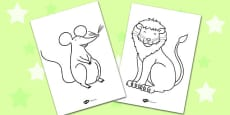 The Lion And The Mouse Colouring Sheets
