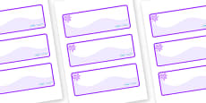 Purple Themed Editable Drawer-Peg-Name Labels (Colourful)