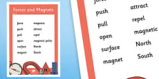 Year 3 Forces Scientific Vocabulary Poster