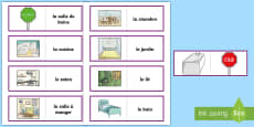 * NEW * Parts of a House Card Game French