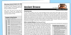 Ancient Greece History Fact Sheet for Adults