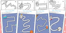 Space Themed Pencil Control Maze Activity Sheets (Australia)